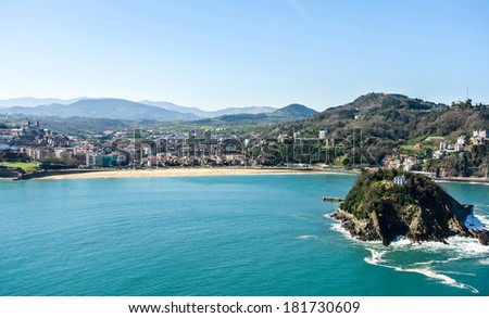 View of the Cantabric sea and the city of San Sebastian in a sunny day (Spain) - stock photo