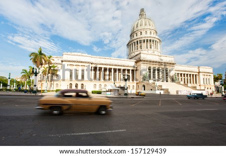View of The Capitol in old Havana, Cuba - stock photo