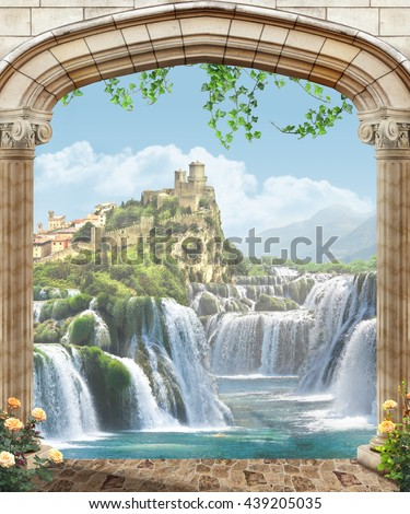 view of the castle - stock photo