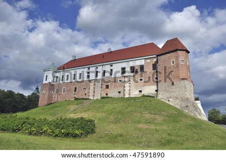 View of the castle of the Polish city Sandomierz. - stock photo