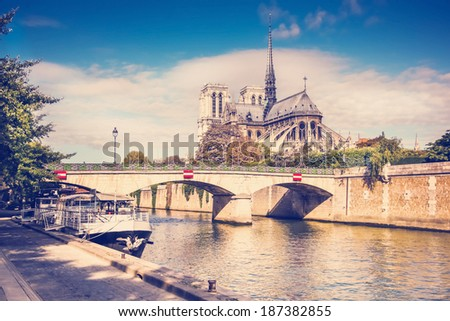 view of the cathedral of Notre Dame and the Seine River - stock photo