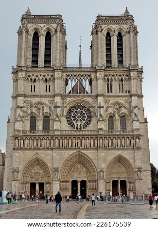 View of the Cathedral of Notre Dame, Paris, France.