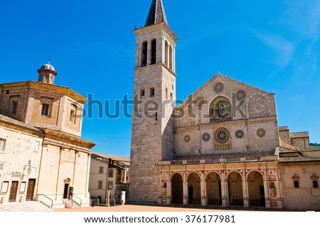 View of the cathedral of Spoleto Umbria Italy - stock photo