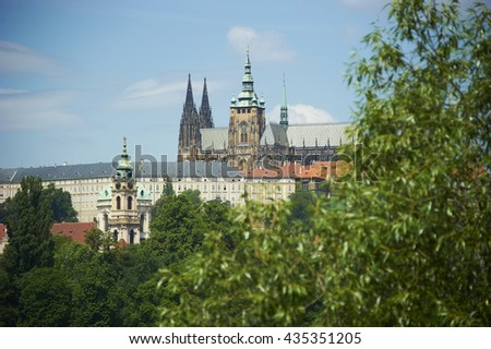View of the Cathedral of St. Vitus, Prague Castle, Czech Republic. - stock photo