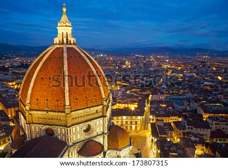 View of the Cathedral Santa Maria del Fiore at dusk. Florence, Italy - stock photo