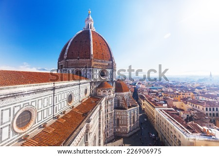 View of the Cathedral Santa Maria del Fiore in Florence, Italy - stock photo
