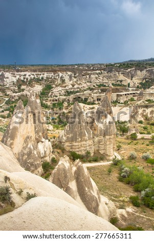View of the cave houses of Cappadocia and Goreme National Park. Turkey.