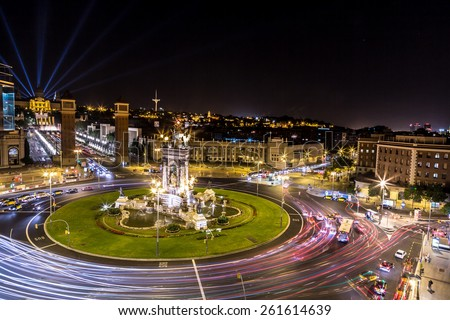 View of the center Barcelona. Spain in a summer night - stock photo