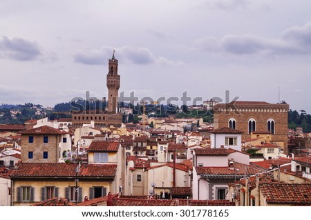 View of the center of Florence from the bell tower of Giotto, Italy - stock photo