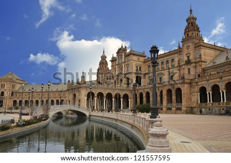 View of the central part of the Plaza of Spain in Seville