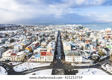 View of the central Reykjavik city in winter. View from the top of Hallgrimskirkja church, Iceland. - stock photo