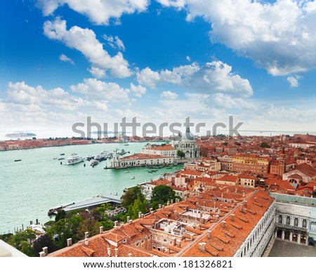 View of the central Venice and grand canal from above