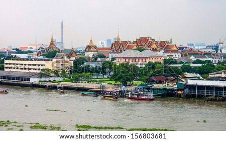 View of the Chao Phraya River and Royal palace in Bangkok, Thailand.