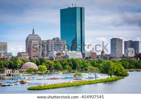 View of the Charles River and Back Bay from the Longfellow Bridge, in Boston, Massachusetts. - stock photo