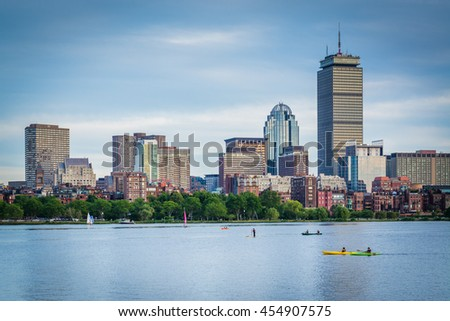 View of the Charles River and  buildings in Back Bay from Cambridge, Massachusetts. - stock photo