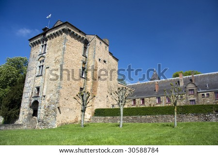 View of the Chateau at Chateaubriant, Brittany, Northern France - stock photo