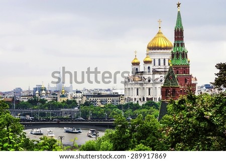 view of the Christ the Savior Cathedral of the Moscow Kremlin towers chereh - stock photo