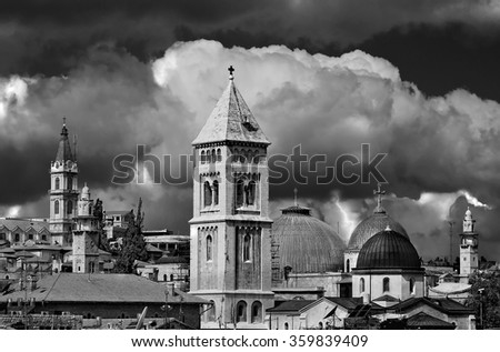 View of the Christian Quarter of the Old City of Jerusalem. - stock photo