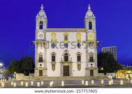 View of the Church of Carmo, located in Faro, Portugal. - stock photo