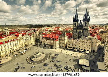 view of the church of Saint Mary of Tyn in Prague - stock photo