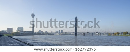 View of the city and the television tower Rheinturm in Dusseldorf in Germany - stock photo