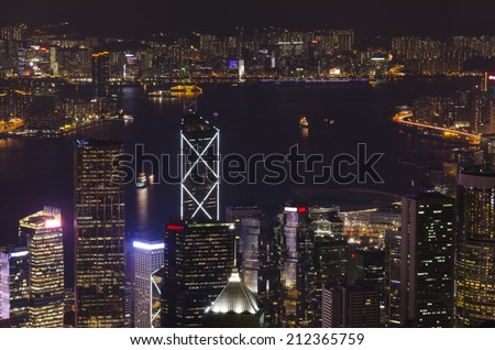 view of the city at night Hong Kong with a height