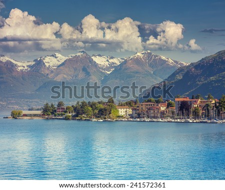 View of the city Bellano, lake Lecco, Lombardy, Italy, Europe.