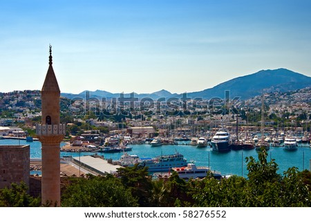 view of the city Bodrum in Turkey, on the Aegean sea - stock photo