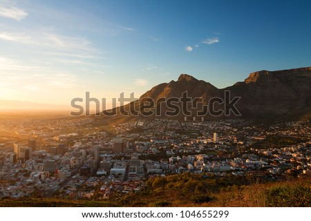View of the City Cape Town in the Early Morning (South Africa) - stock photo