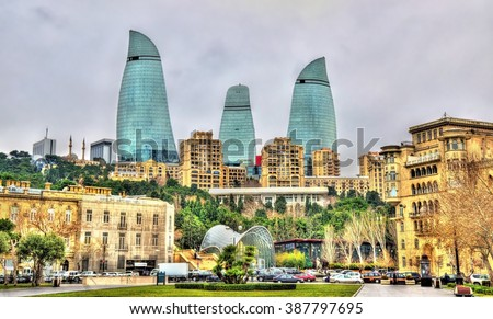 View of the city centre of Baku - Azerbaijan - stock photo