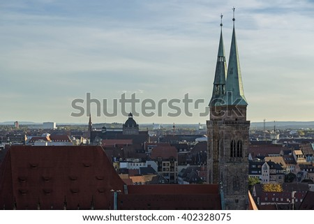 View of the city, church, sky, clouds in Nuremberg, Germany