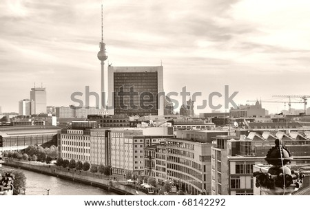 View of the city of Berlin in Germany - sepia - stock photo