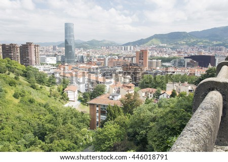 View of the city of Bilbao in the afternoon. District of Deusto in first term, taken from one of the hillsides surrounding the city. - stock photo