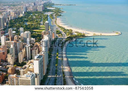 View of the city of Chicago from Hancock Center - stock photo