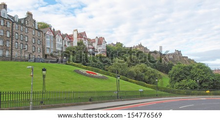 View of the city of Edinburgh in Scotland - wide panoramic view - stock photo