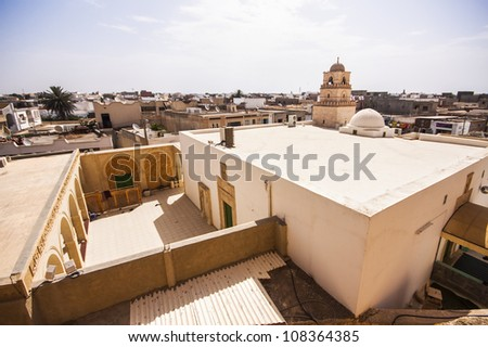 View of the city of El Jem from the Roman amphitheater, Tunisia. - stock photo