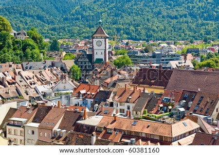 View of the city of Freiburg in the Black Forest, Germany - stock photo