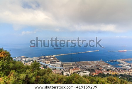 View of the city of Gibraltar from the top of the rock - stock photo