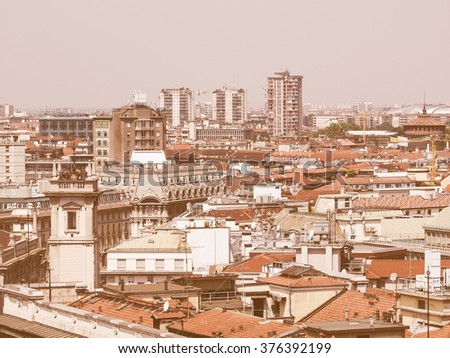 View of the city of Milan Milano in Italy vintage