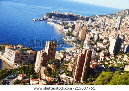 View of the city of Monaco. French Riviera - stock photo