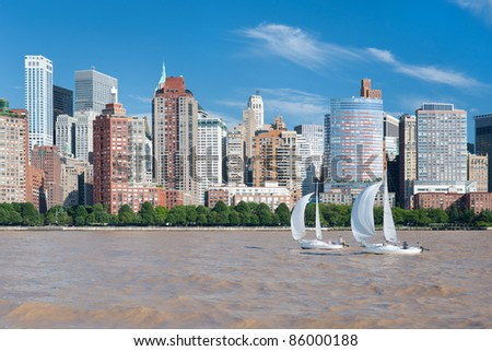 View of the city of New York from Hudson river - stock photo