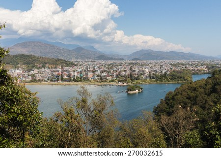 View of the city of Pokhara and Phewa Lake from a height - stock photo