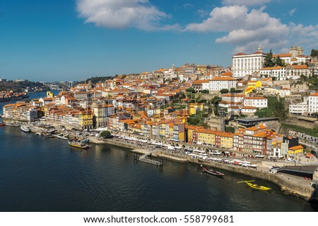 View of the city of Porto in Portugal, from the bridge of Don Luis