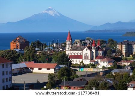 View of the city of Puerto Varas and llanyauihue Lake, Patagonia, Chile - stock photo