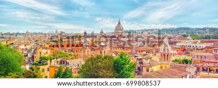 View City Rome Above Hill Terrazza Stock Photo (Safe to Use ...