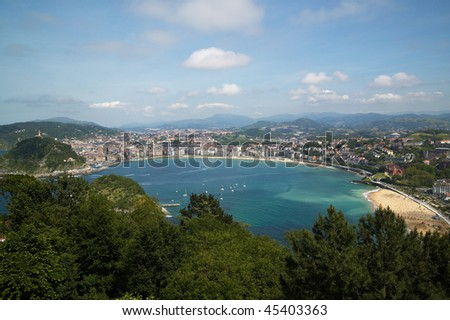 view of the city of san sebastian, Basque Country, located in the north of Spain. - stock photo