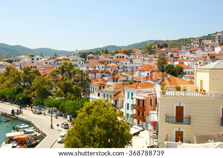 View of the city of Skopelos