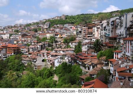 View of the city of Veliko Tarnovo in Bulgaria - stock photo