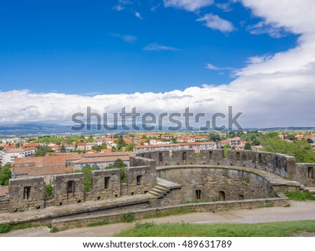 View of the city over the wall at Carcassone Castel - France