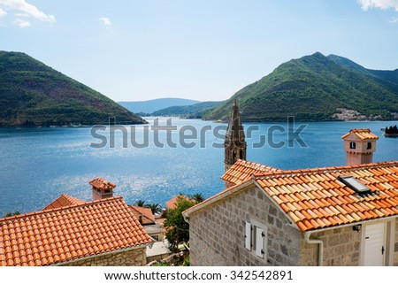 view of the city Perast and mountains of Kotor Bay, Montenegro - stock photo